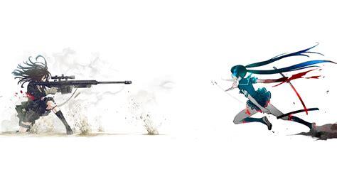 wallpaper sports gun women simple background anime