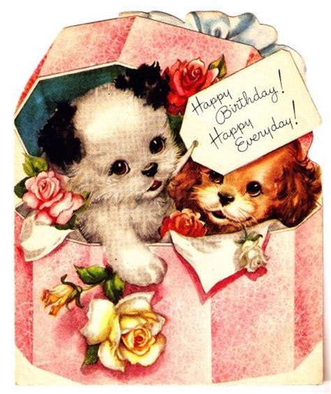 Puppy Birthday Cards Vintage Birthday Card Puppy Dogs Vintage Birthday Cards