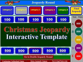 christmas jeopardy interactive game template for holly