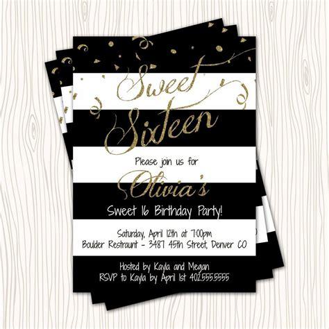 black and white 16th birthday invitations gold glitter black white blue sweet 16 sixteen birthday invitation any color ebay