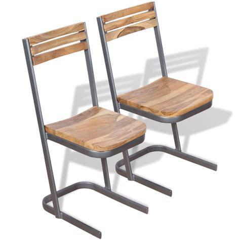 Teak Wood Dining Chairs Vidaxl Dining Chairs 2 Pcs Solid Teak Wood Vidaxl