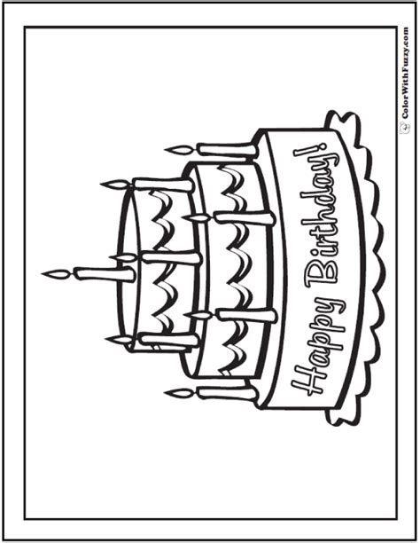 coloring happy birthday cakes candles pages 28 birthday cake coloring pages customizable pdf printables