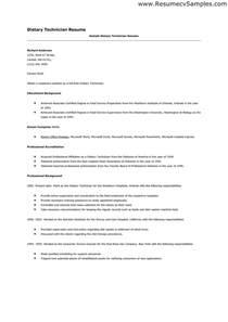 dietary aide resume sample dietary technician resume