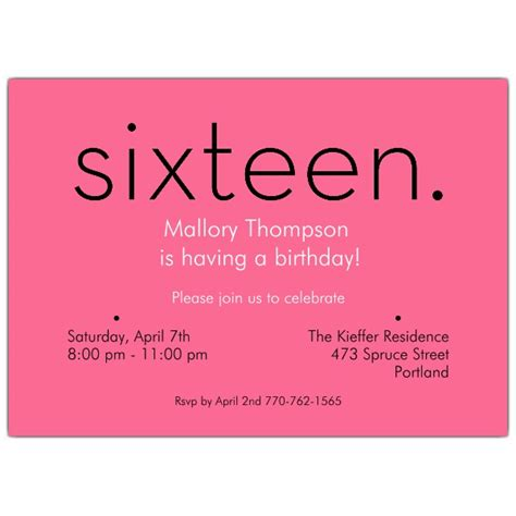 printable invitations for 16th birthday sixteen pink 16th birthday invitations paperstyle