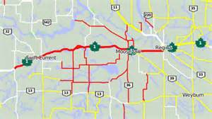 canada highway conditions map many kilometres of sask highways closed blowing snow