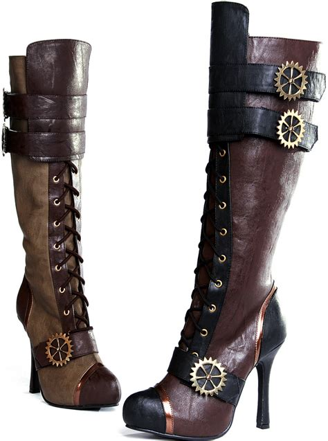 high heel boots knee high west steunk knee high lace up high heels boots