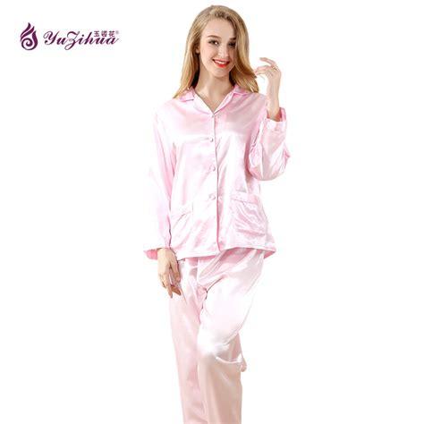 yuzihua high grade silk pajamas pyjama femme pink pyjamas sleepwear satin pijamas mujer