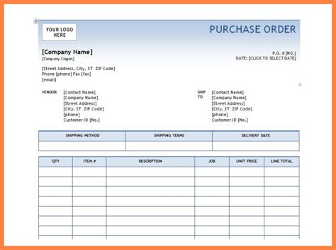 6 microsoft office purchase order template purchase