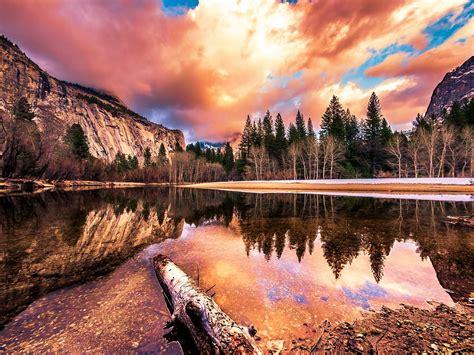 romantic landscape beautiful sunsets merced river yosemite
