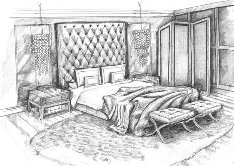 pencil sketch master bedroom concept design visual by