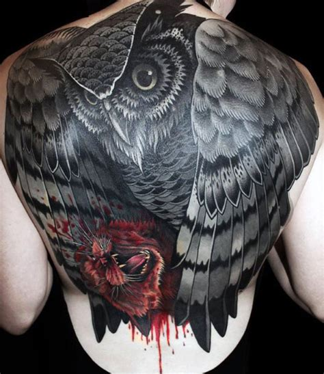 black owl tattoo men back corujas tatoo pinterest