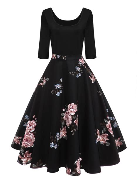 On Line Vintage Clothing Directory A To Z by Retro U Neck Floral Print Pin Up Dress In Black M