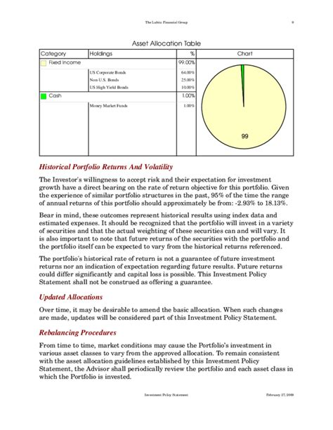 investment policy statement template standard investment policy statement free