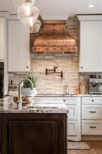 stone backsplash copper and stove hoods on pinterest natural stone backsplash for kitchen home design ideas