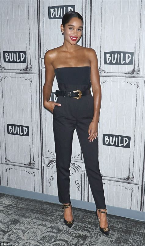 laura harrier old laura harrier dons skimpy black top and pants at build