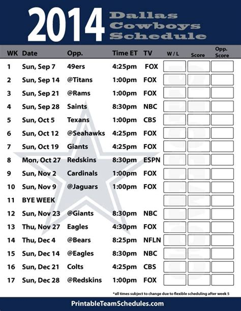 printable nfl team schedules 2014 25 best ideas about cowboys 2014 schedule on pinterest