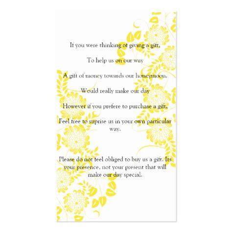 wedding ask for gift of money business card zazzle - How To Ask For Gift Cards For Wedding Shower