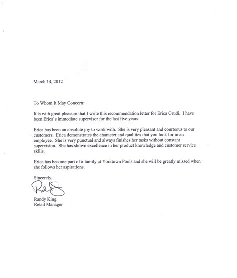 letter of recommendation format sle template