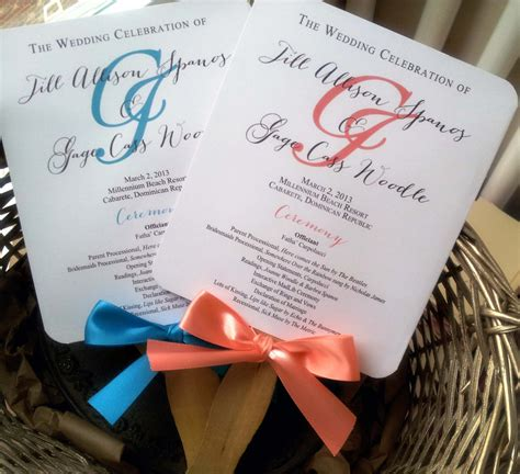 custom printed fans for weddings turquoise wedding program fans pick two by pinkorchidinvites