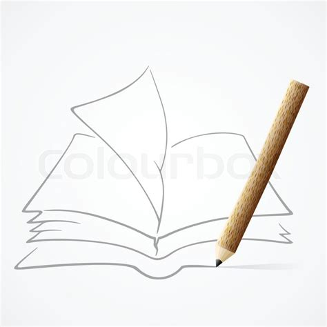 sketch book with pencil pencil drawing book stock vector colourbox