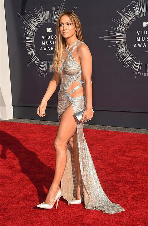 jennifer lopez dazzles in silver mesh dress on 2014 mtv