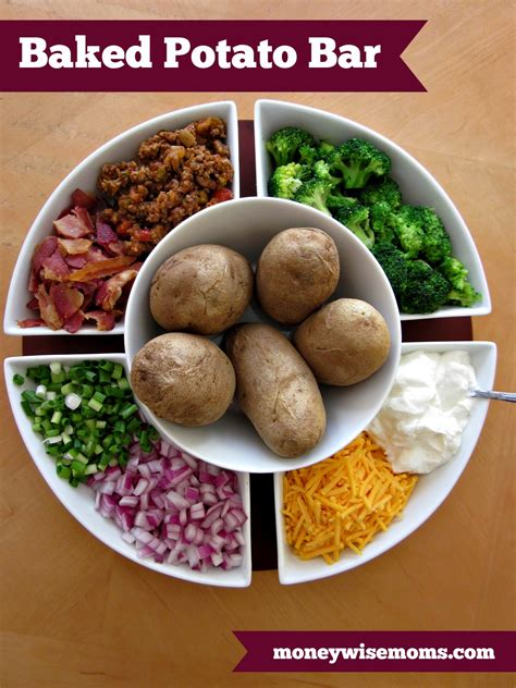 Toppings For A Potato Bar by Baked Potato Bar Recipe Dishmaps