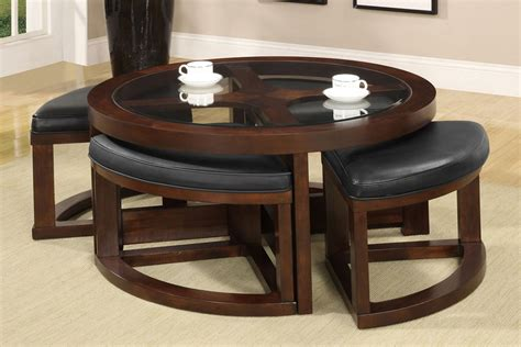 Coffee Table With 4 Ottomans Cove Walnut Glass Top Coffee Table 4 Wedge Shaped Ottomans