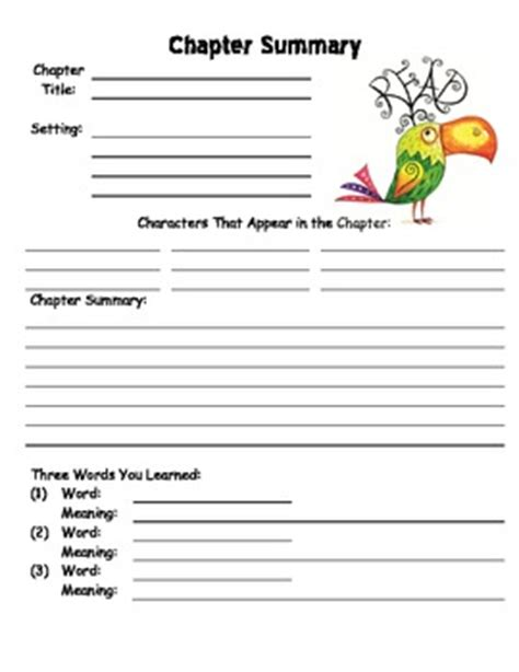 novel notes template chapter summary worksheet template by the special nook tpt