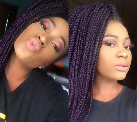 grey and purple combined together style box breads 35 awesome box braids hairstyles you simply must try