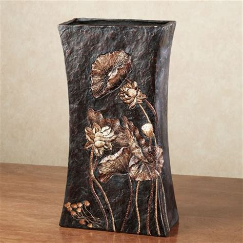 Black Table Vase Woods Textured Decorative Table Vase