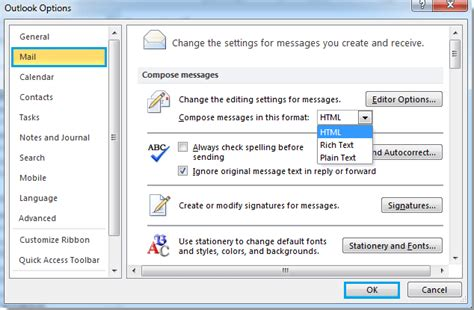 email format html or text how to change message to html format in outlook