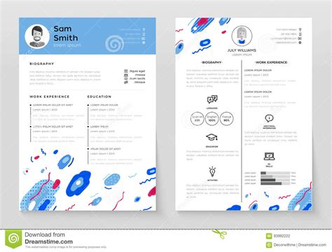 flat design video maker personal resume vector template illustration stock