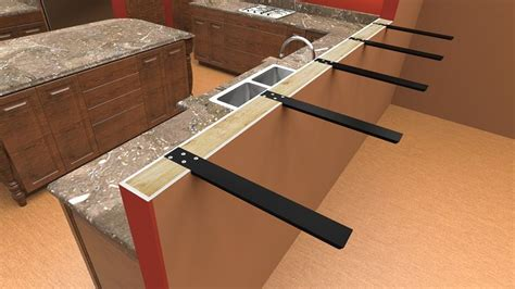 brackets for bar top countertop seating overhang before view installed on