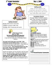 Third Grade Newsletter Template by Best Photos Of Newsletter Exles Of Grade 1 Classroom