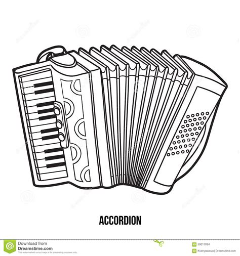 coloring book musical instruments accordion stock