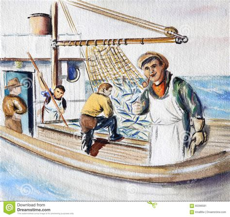how to draw a fisherman boat fisherman on the boat stock image image of drawing small