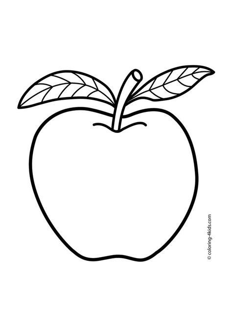 apple coloring pages  kids fruits coloring pages