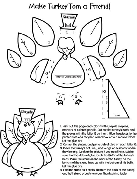 turkey coloring page cut out turkey craft coloring page crayola com