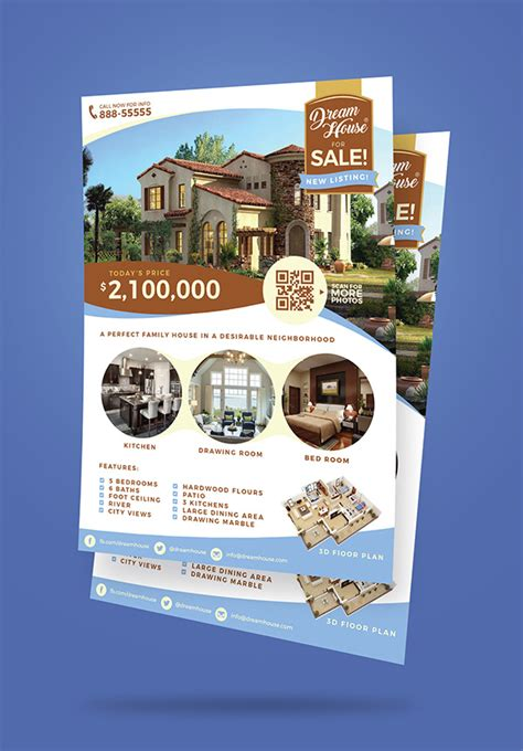 free house for sale flyer templates free real estate house for sale flyer design template