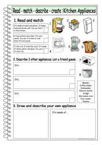 Kitchen Appliances Worksheet Read Match Describe Create 5 Kitchen Appliances