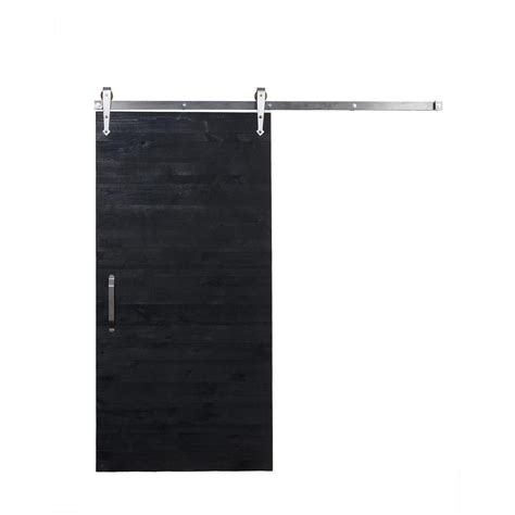 Rustica Hardware 36 In X 84 In Rustica Reclaimed Matte Black Barn Door Hardware