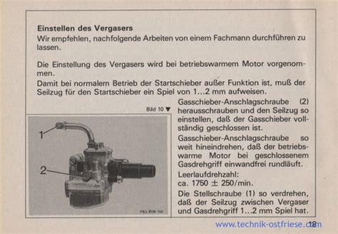 Sachs Motor Vergaser Einstellen by Sachs 506 3 By Betriebsanleitung