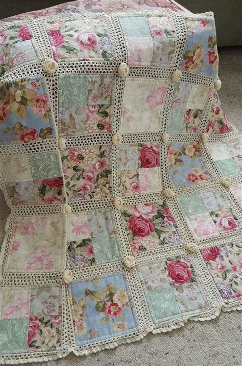 Shabby Chic Quilt Fabric by Crochet And Fabric Quilt Shabby Chic Fabrics And Crochet