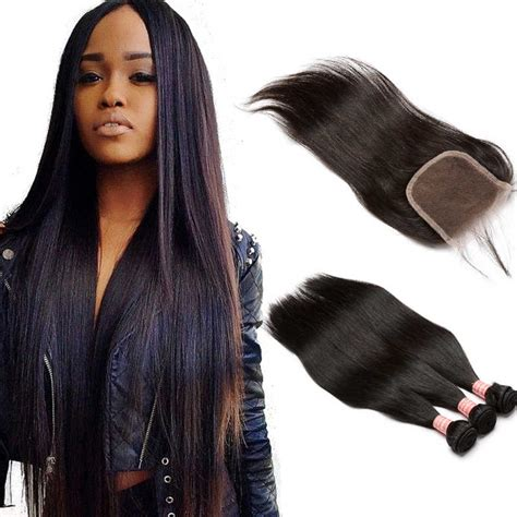 wiki closure hair extension brazilian virgin human straight hair extensions 3 bundles