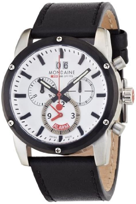 mondaine mens sport ii  chrono alarm leather band