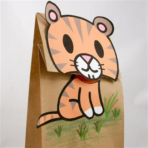 paper bag cat puppet pattern paper bags clip art 40