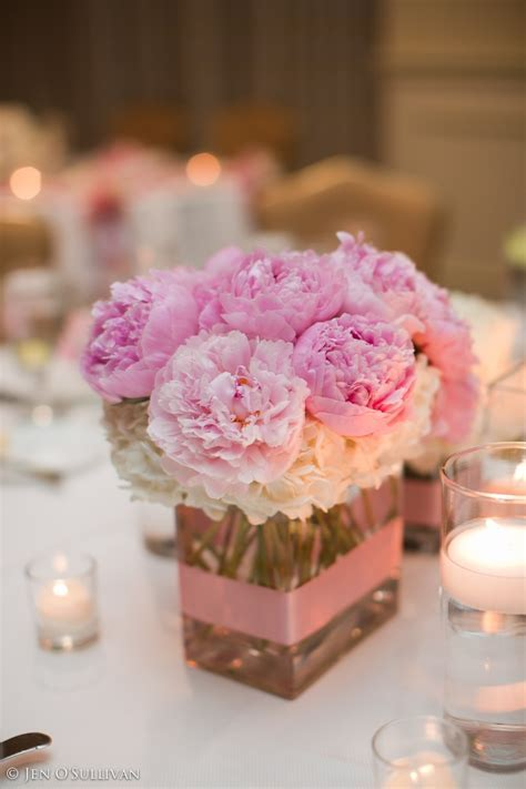 Pink Peonies small square centerpiece   Centerpieces   Pinterest
