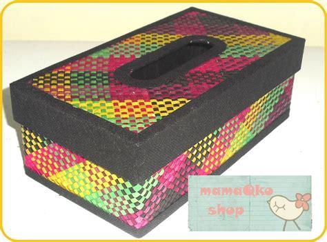 Tempat Kotak Tissue Pandan Motif Decoupage Kecil 22 mamaqko souvenir tempat tissue kotak etnik