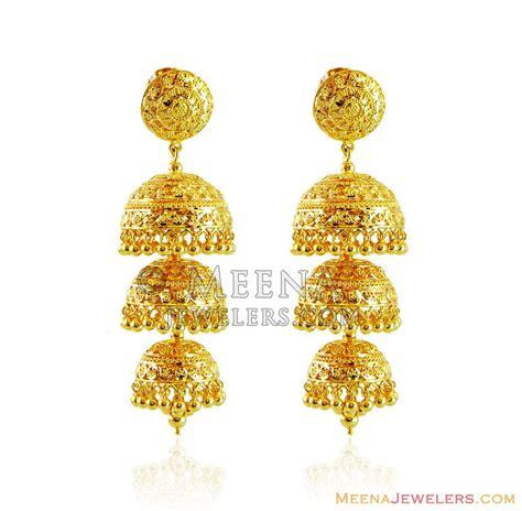 gold jhumka pattern gold layered jhukma earrings erfc15561 22kt gold