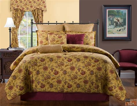 mustard comforter set 4pc red orange wine mustard curry floral print 100 cotton